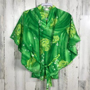 Vintage Hawaiian Palm poncho style floral top